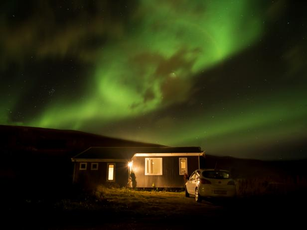 Northern Lights, Viking Cottage, Iceland
