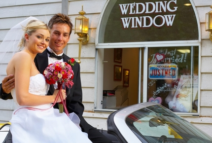 Newlyweds at this drive-up wedding chapel