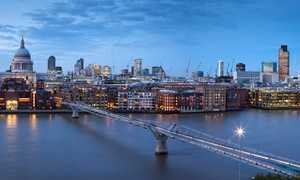 View of St Paul's Cathedral and the City of London skyline.