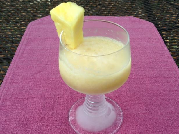 A frozen Pina Colada cocktail